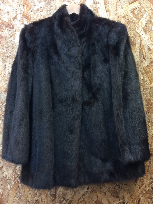 White Bear ホワイトベア 毛皮コート ミンク 焦茶 ダークブラウン系 表記サイズL