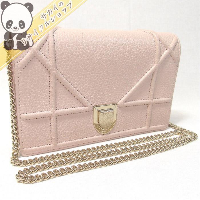 【中古】【美品】Christian Dior ディオラマ チェーンウォレット レザー ピンク