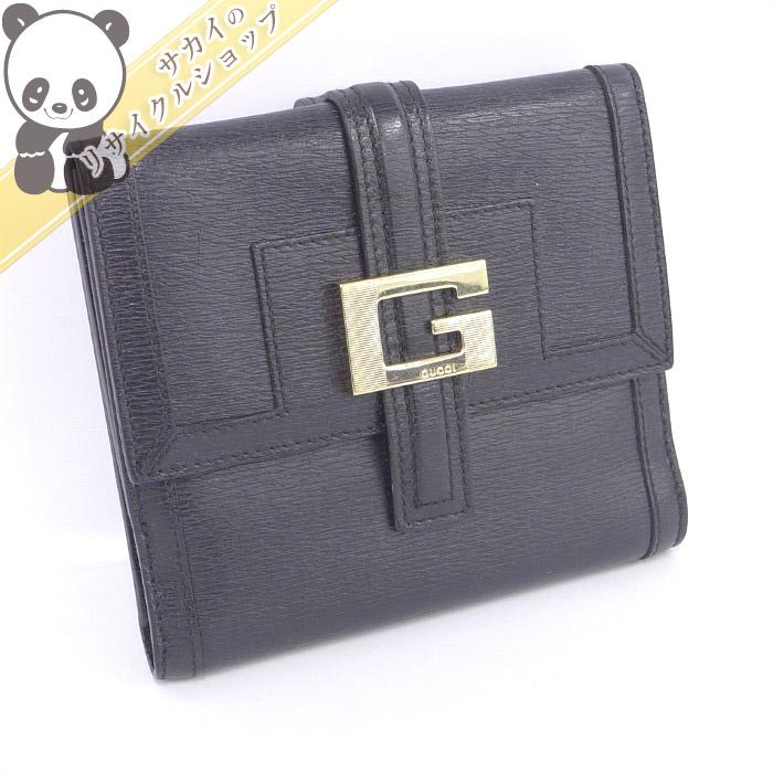 【中古】【美品】GUCCI Wホック 二つ折り財布 Gロゴ レザー ブラック 035.2203