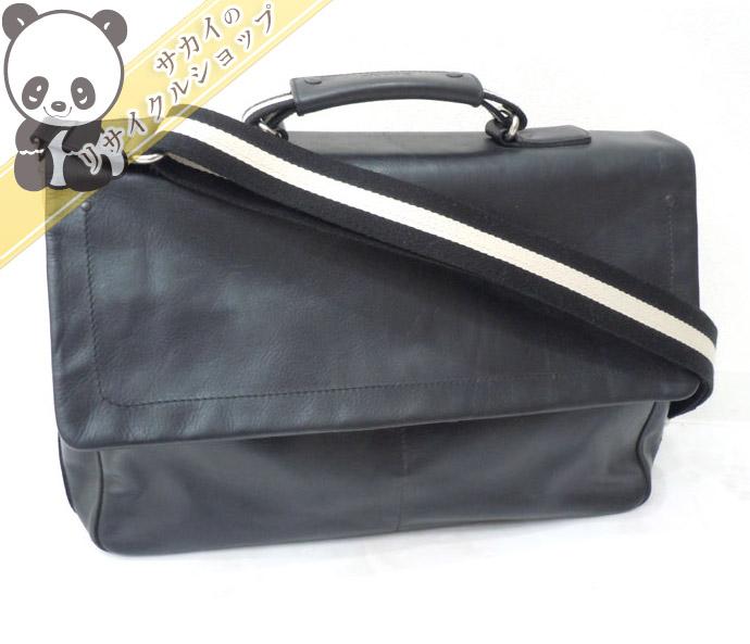 BALLY バリー 2WAYビジネスバッグ ブラック レザー ショルダーストラップ付き 【美品】【送料無料】