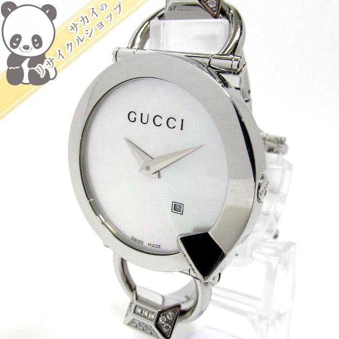【中古】GUCCI キオド ダイヤ デイト レディース腕時計 SS クォーツ シェル文字盤 122.5/YA1225069