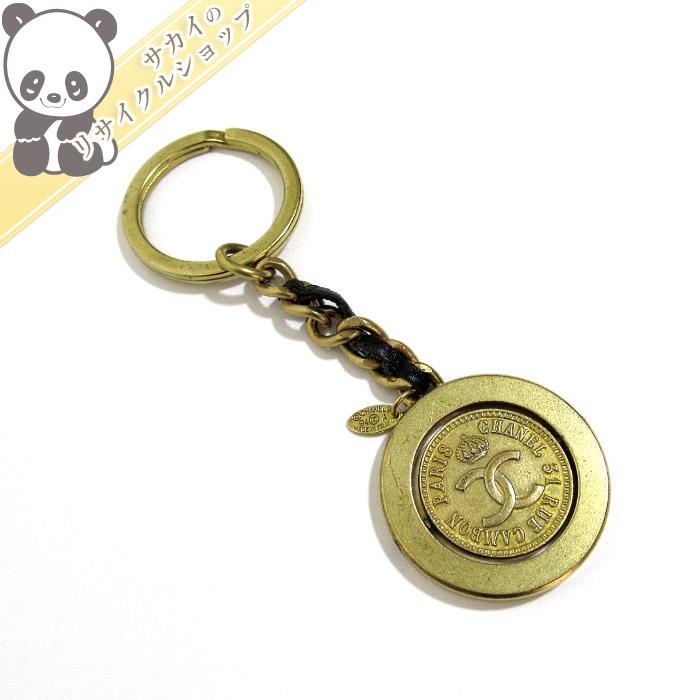 【中古】CHANEL キーリング コイン ココマーク レザー/ゴールド金具 94A
