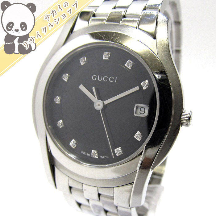 【中古】GUCCI メンズ腕時計 SS 11P ダイヤモンド クオーツ デイト ブラック文字盤 5500M
