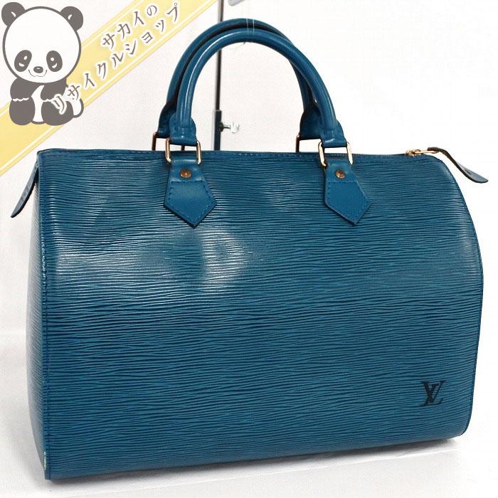 【中古】LOUIS VUITTON スピーディ30 ボストンバッグ/ハンドバッグ エピ レザー トレドブルー(青) M43005