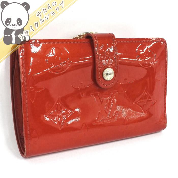 LOUIS VUITTON ルイヴィトン 二つ折り財布 がま口付 ポルト モネ・ビエ ヴィエノワ M91208 ヴェルニ ルージュ