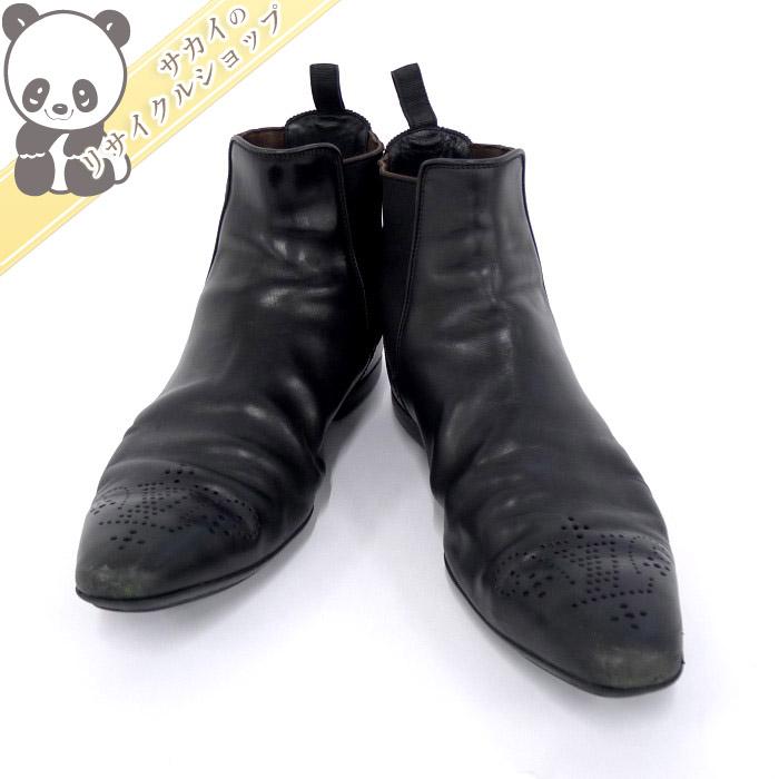 【中古】LOUIS VUITTON ショートブーツ サイドゴアブーツ レディース ブラック レザー 表記サイズ:6 1/2