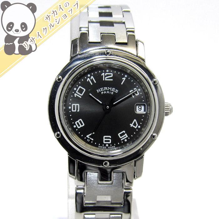 【中古】【美品】HERMES レディース腕時計 クリッパー SS クオーツ デイト 文字盤ブラック CL4.210