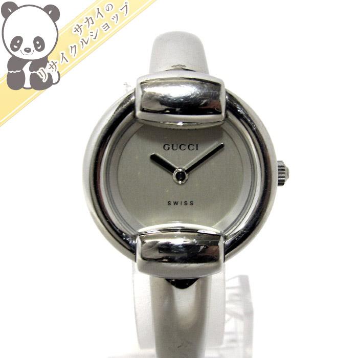 【中古】GUCCI レディース腕時計 SS クォーツ 文字盤シルバー 1400L