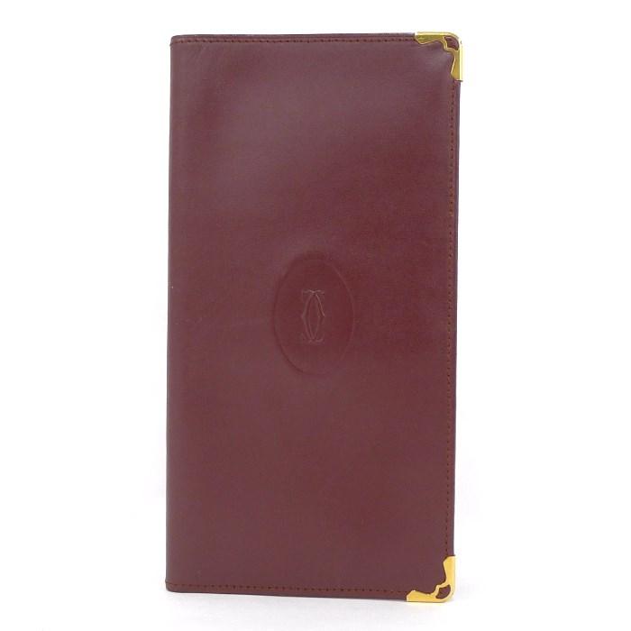 【中古】Cartier 長札入れ 二つ折り長財布 マストライン レザー ボルドー×ゴールド金具