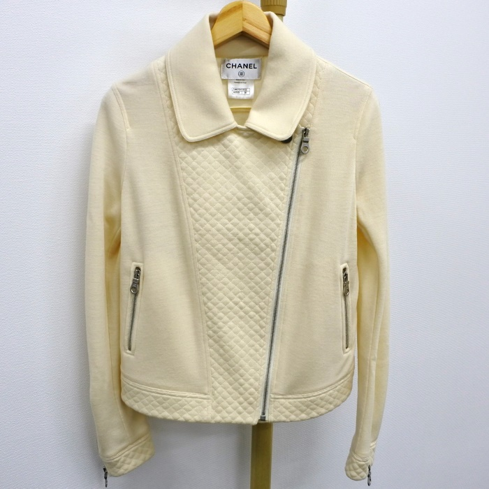 【中古】【美品】CHANEL ライダースジャケット ホワイト ウール レディース 表記サイズ:38