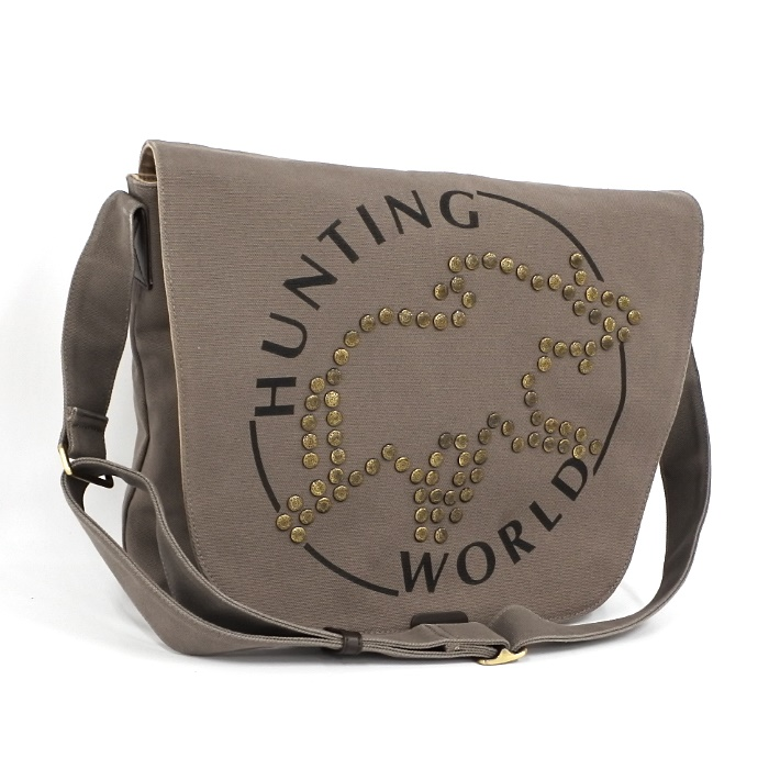HUNTING WORLD ハンティングワールド メッセンジャーバッグ ショルダーバッグ スタッズ グレー キャンバス