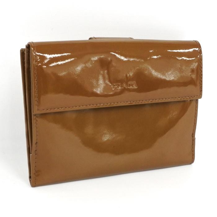 【中古】PRADA 二つ折り財布 M523 パテントレザー キャメル