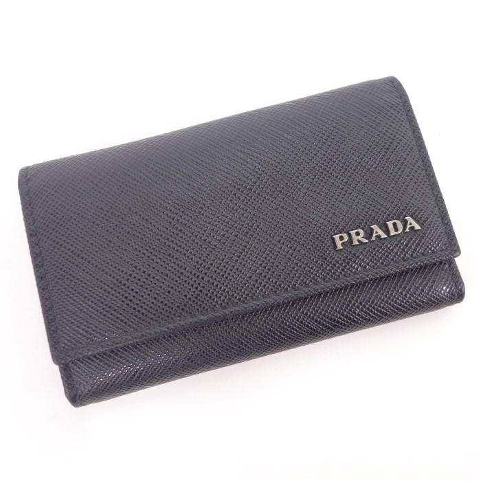 PRADA プラダ 6連キーケース サフィアーノレザー ブラック 2PG222 【z80526*hmn】