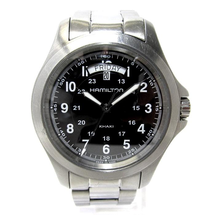 【中古】HAMILTON メンズ腕時計 カーキ キング フィールド クオーツ SS デイデイト 文字盤ブラック H64451133