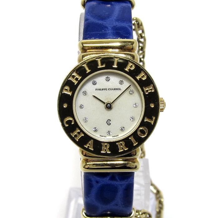 【中古】PHILIP CHARRIOL フィリップ シャリオール サントロペ レディース腕時計 GP レザーベルト クォーツ 文字盤シェル 7007901