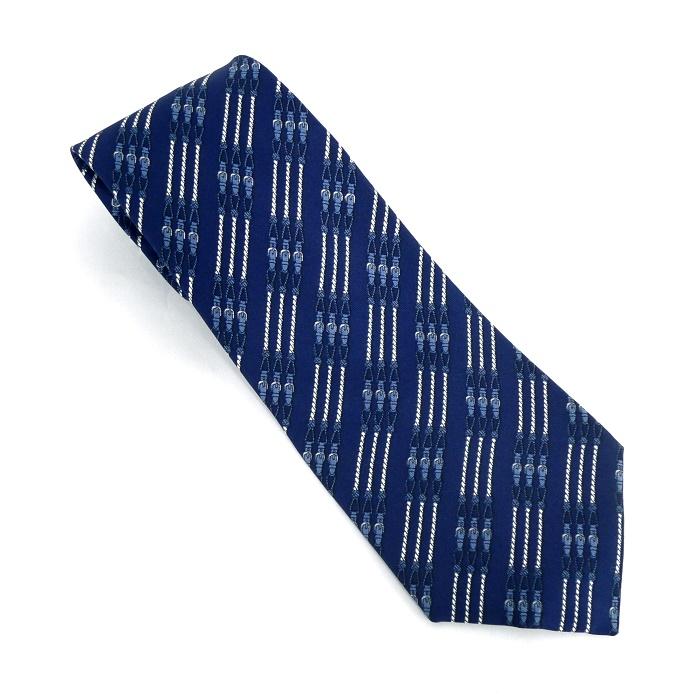 【中古】【美品】HERMES ネクタイ ベルト柄 シルク100% ネイビー(ブルー)