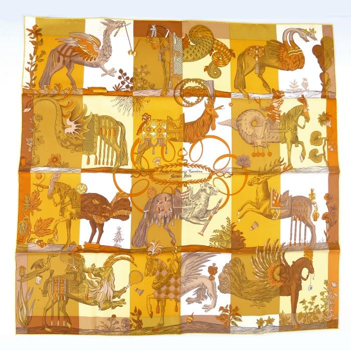 【中古】【新品同様】HERMES カレ90 Della Cavalleria Favolosa/デッラ カヴァッレリア ファヴォローサ シルク100% オレンジ系 動物