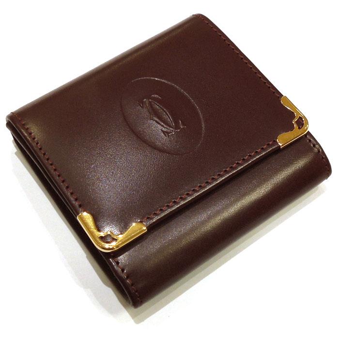 【中古】【未使用に近い】Cartier コインケース マストライン レザー ボルドー L3000464