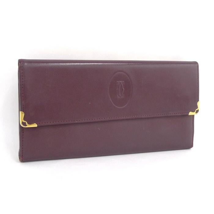 Cartier カルティエ 三つ折り長財布 がま口 マストライン ボルドー 【z80604*hmd3n】