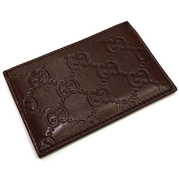 【中古】【未使用に近い】GUCCI カードケース 名刺入れ シマ レザー ダークブラウン 163233