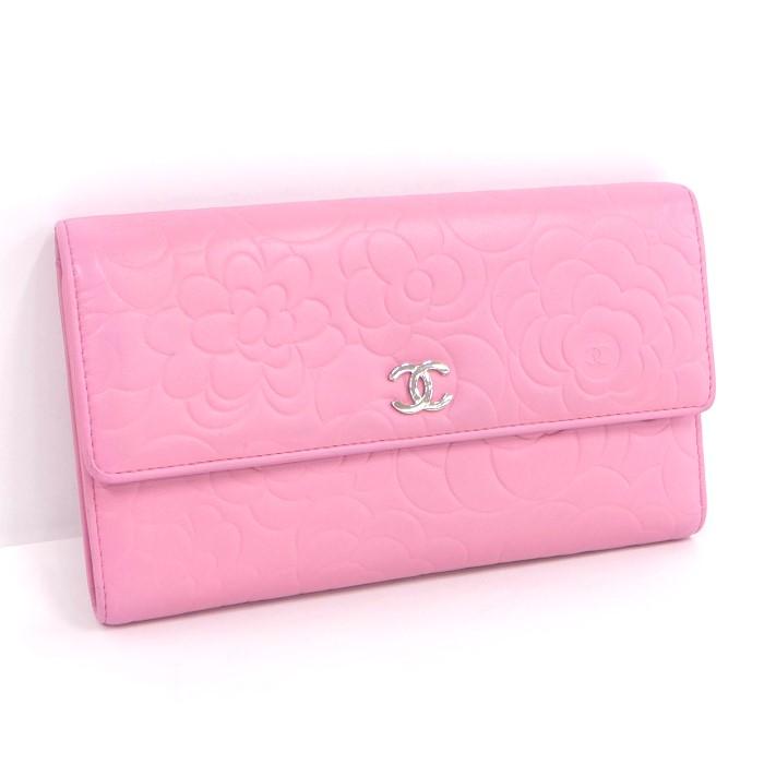 CHANEL シャネル 三つ折り長財布 カメリア ピンク ラムスキン A48684 【z80703*hmn】