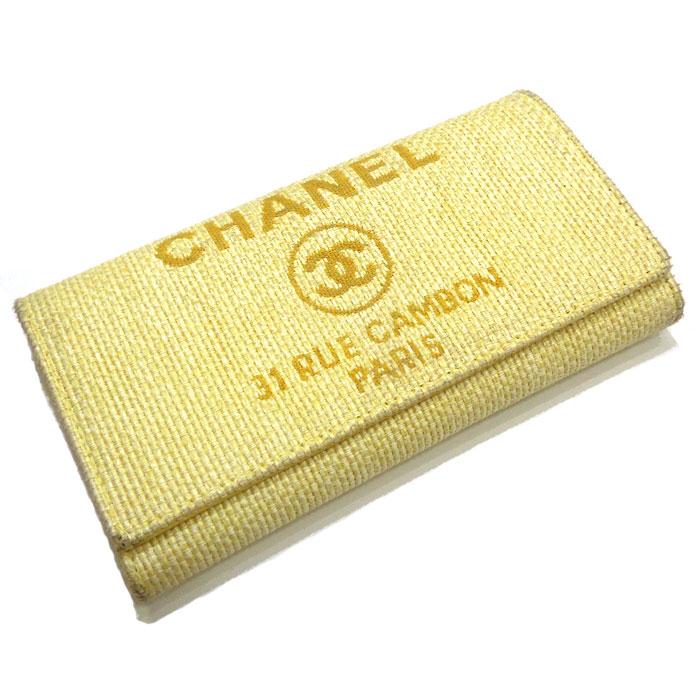 【中古】CHANEL 二つ折り長財布 ドーヴィルライン キャンバス イエロー A80051