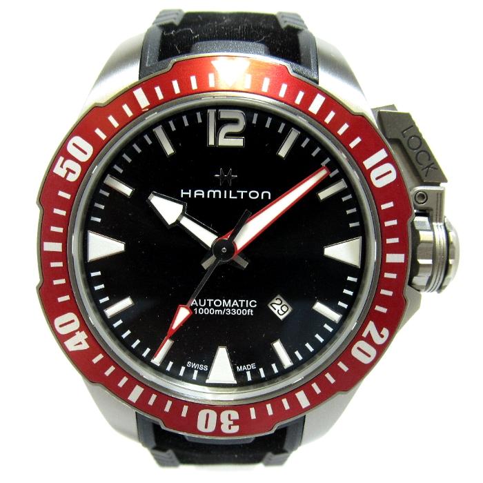 【中古】【美品】HAMILTON カーキ ネイビー ダイバーズ デイト 自動巻き 文字盤ブラック メンズ腕時計 H778050