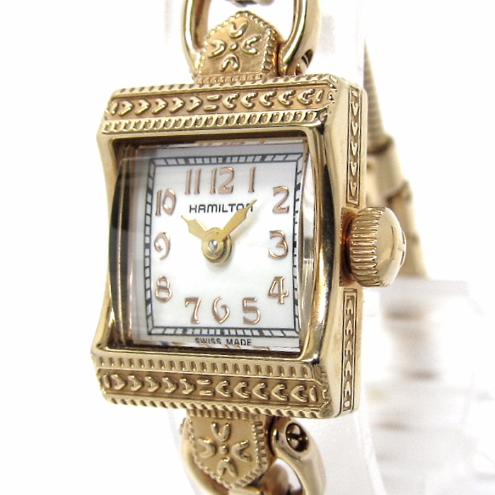 HAMILTON ハミルトン ヴィンテージ レディース腕時計 クオーツ 文字盤シェル SS/GP 280.002 【ヴィンテージ】【レディース】【watch】.【z80620*hmn】