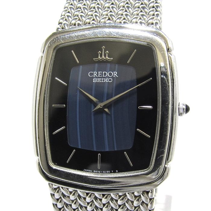 【中古】SEIKO セイコー クレドール メンズ腕時計 クオーツ 文字盤ブルー 縞メノウ SS GCJX033 5A74-3D30