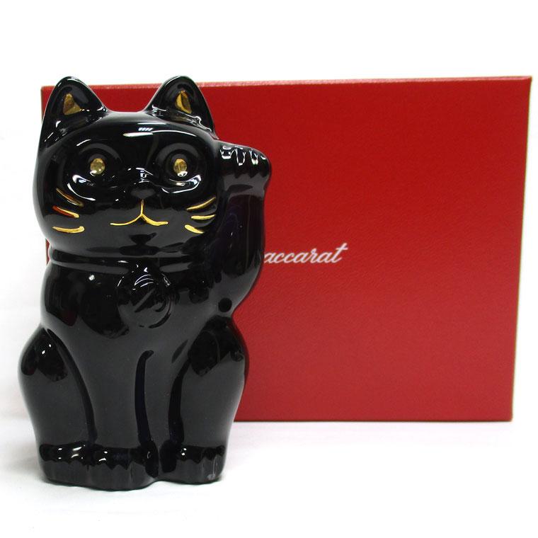 BACCARAT バカラ 置物 オブジェ まねき猫 クリスタルガラス ミッドナイト Sサイズ 【新品同様】