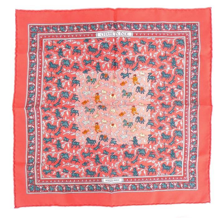 HERMES エルメス スカーフ CHASSE EN INDE インドの狩猟 ピンク系 シルク100% 【美品】