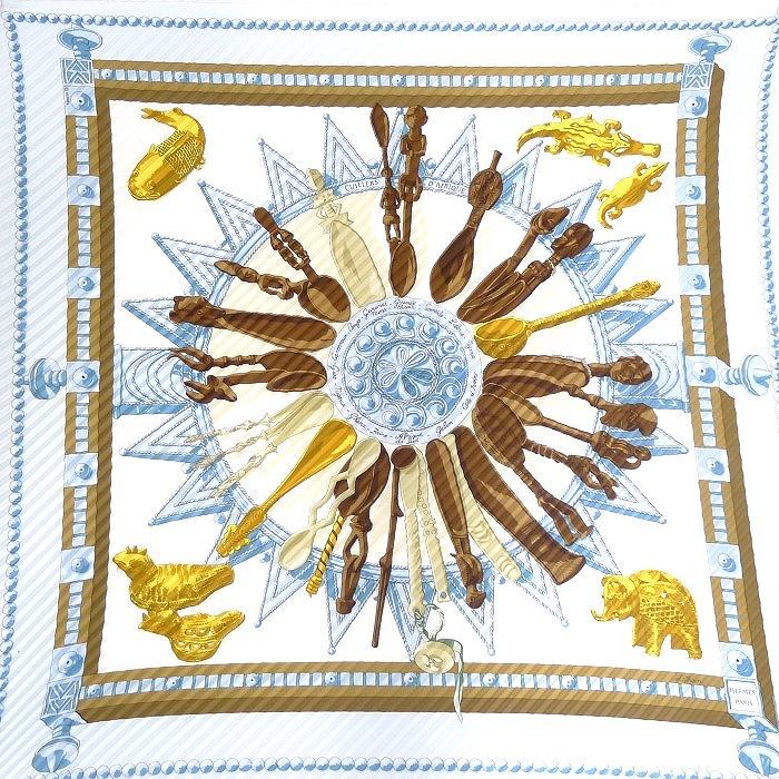 【中古】HERMES スカーフ プリーツスカーフ CULLER D AFRIQUE シルク100% ホワイト×ブルー系×マルチカラー
