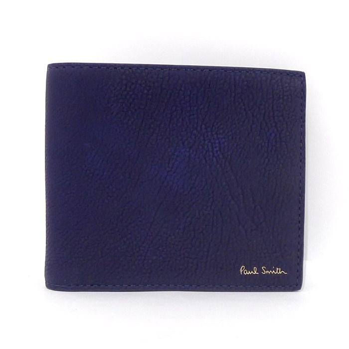 【中古】【未使用】Paul Smith 二つ折り財布 ネイビー レザー ATXC4833 W890