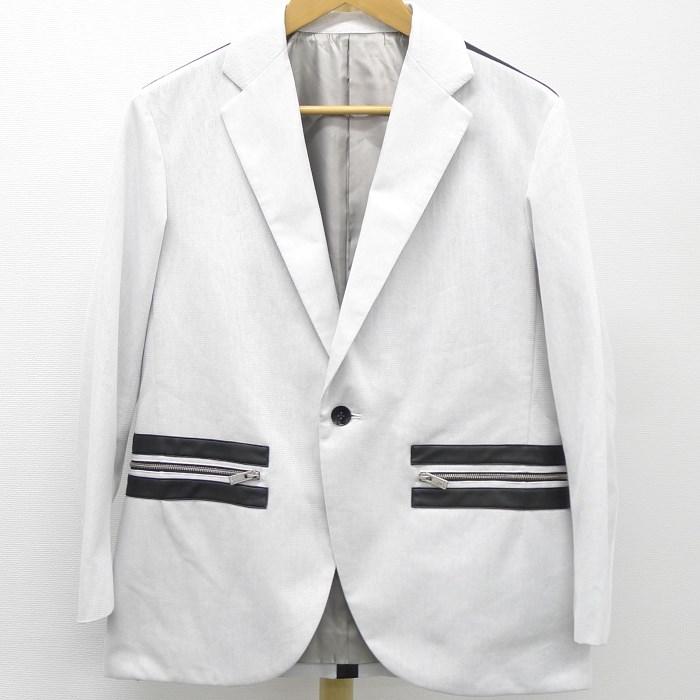 【中古】【未使用】CoSTUME NATIONAL コスチュームナショナル メンズジャケット コットン×シンセティックレザー アイスグレー×ブラック 表記サイズ44