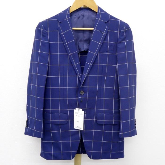 【中古】【未使用】TOMORROWLAND トゥモローランド メンズジャケット チェック 格子柄 ブルー ウール100% サイズ表記42
