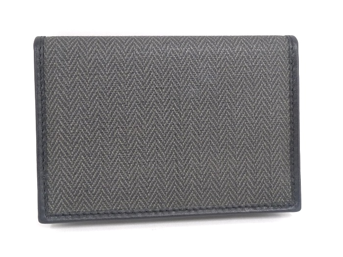 BVLGARI ブルガリ レザー ウィークエンド カードケース 32588 コーティングキャンバス×レザー グレー×ブラック 名刺入れ未使用wikTlPZOXu