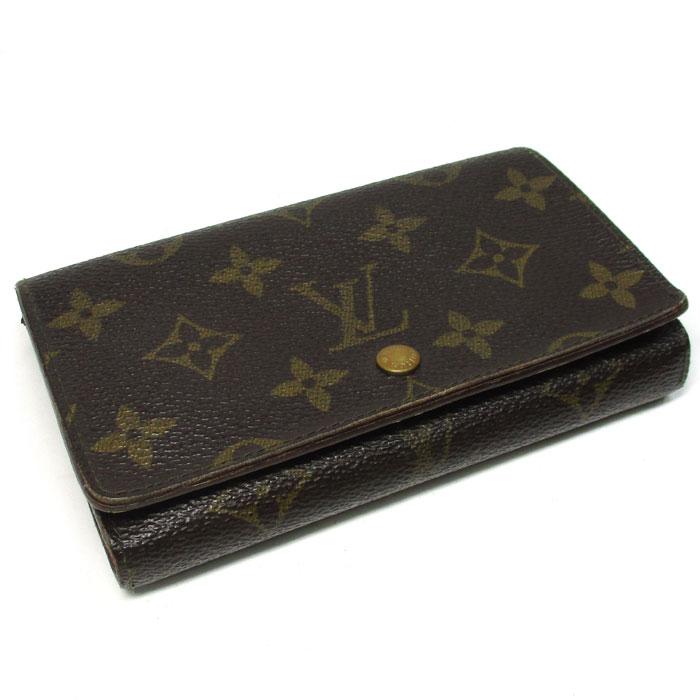 ルイ・ヴィトン 【中古】 二つ折りコンパクト財布 ポルトモネ・ビエ・トレゾール モノグラム M61730