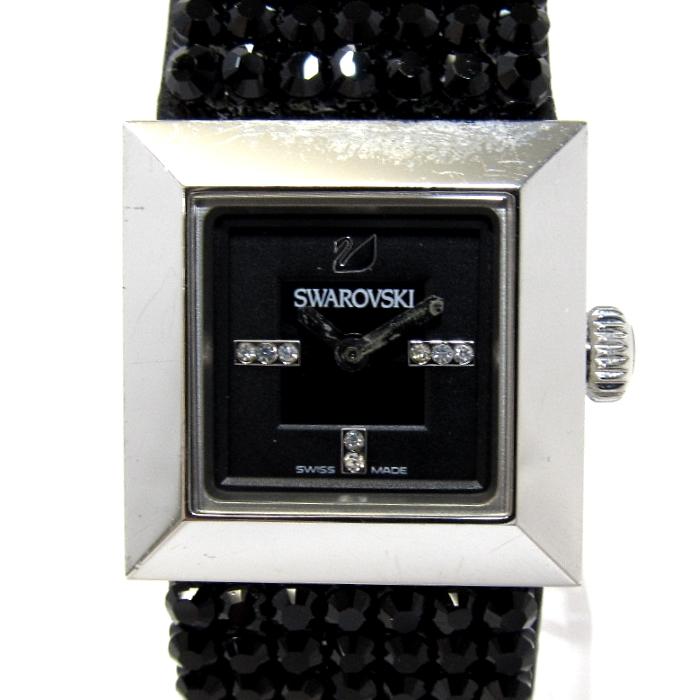 【中古】SWAROVSKI スワロフスキー エリス ジュエリーウォッチ レディース腕時計 クオーツ SS 文字盤ブラック 1000674