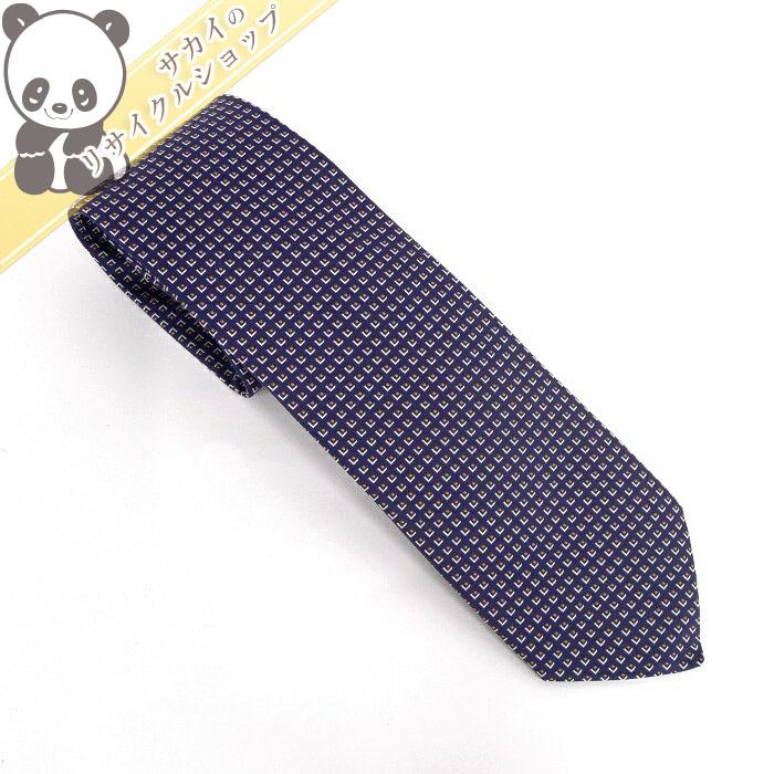 【中古】【新品同様】HERMES シルク ネクタイ ブルー系 シルク100%