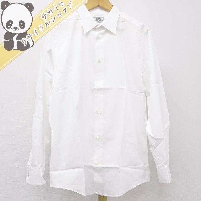【中古】エルメス メンズトップス Yシャツ ホワイト コットン100% サイズ42 16 1/2