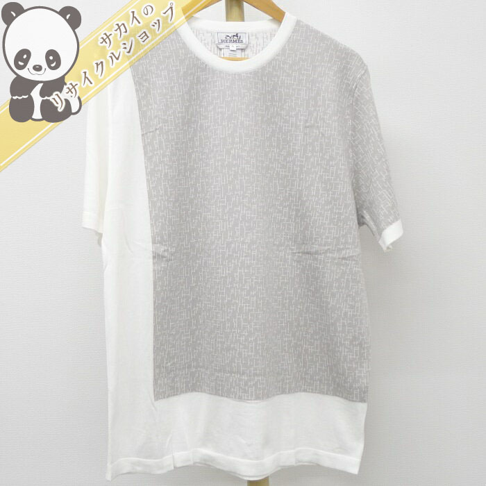 【中古】エルメス メンズトップス 半袖Tシャツ ホワイト×グレー コットン100% 表記サイズXL