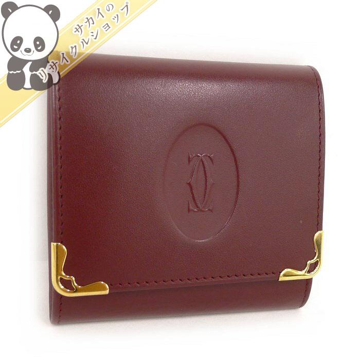 【中古】 カルティエ コインケース 小銭入れ マストライン ボルドー L3000464