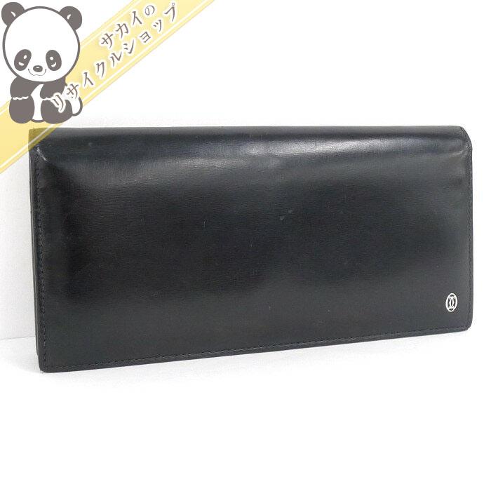 【中古】 カルティエ 二つ折り長財布 ブラック カーフ レザー