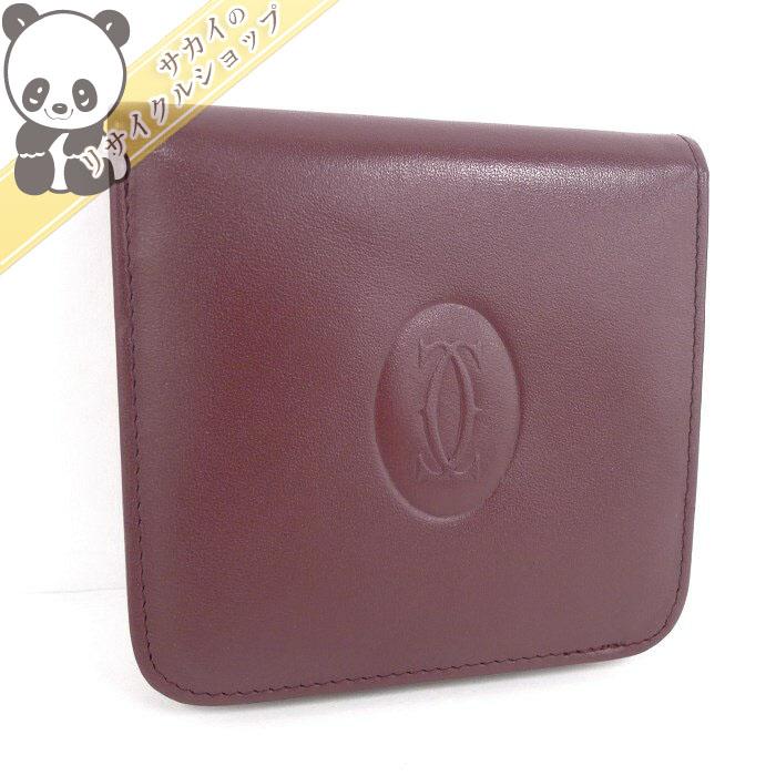 【中古】カルティエ 二つ折り財布 マストライン ボルドー