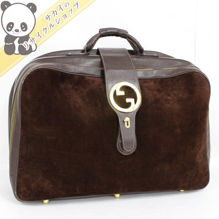 【中古】GUCCI ボストンバッグ スーツケース レザー/スエード ゴールド金具 ブラウン