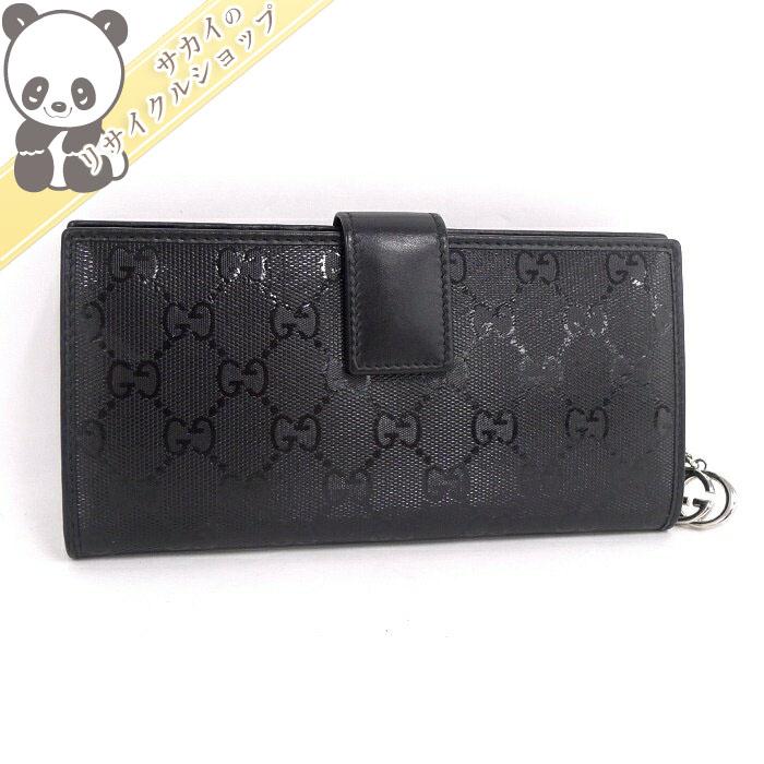 【中古】グッチ インプリメ GG 二つ折り長財布 ブラック ファスナーチャーム 305028