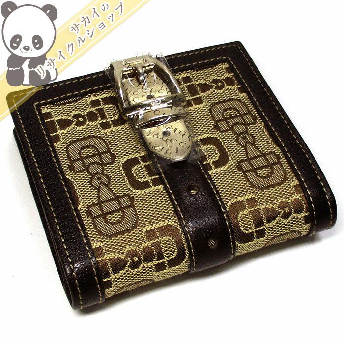 【中古】グッチ 二つ折りコンパクト財布 ビット金具/ベルトモチーフ キャンバス/レザー 146202
