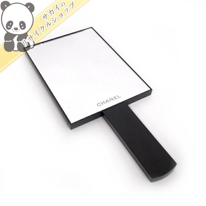 【中古】シャネル 2WAY スタンドミラー 手鏡 ノベルティ プラスチック ブラック