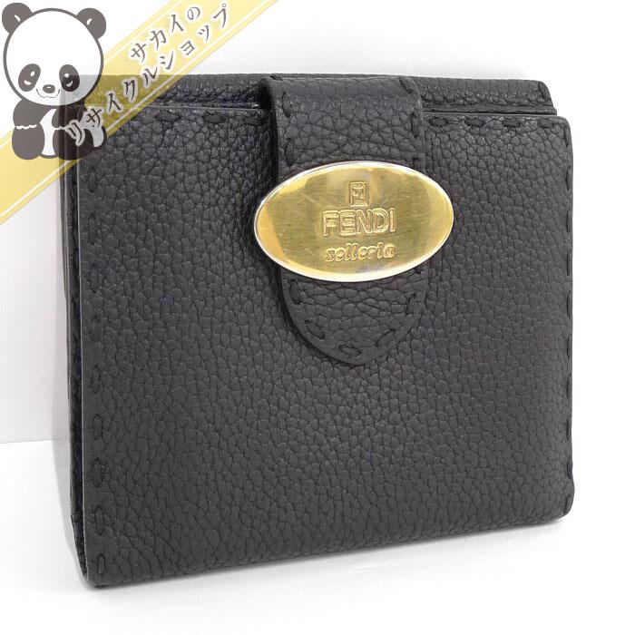 【中古】フェンディ 二つ折り財布 セレリア レザー ブラック/ゴールド金具 8M0206