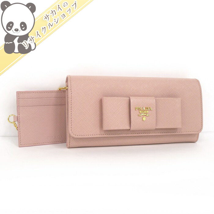 8f8038a7fd51 【中古】 プラダ 二つ折り長財布 ピンク リボン サフィアーノレザー カードケース付属 1MH132
